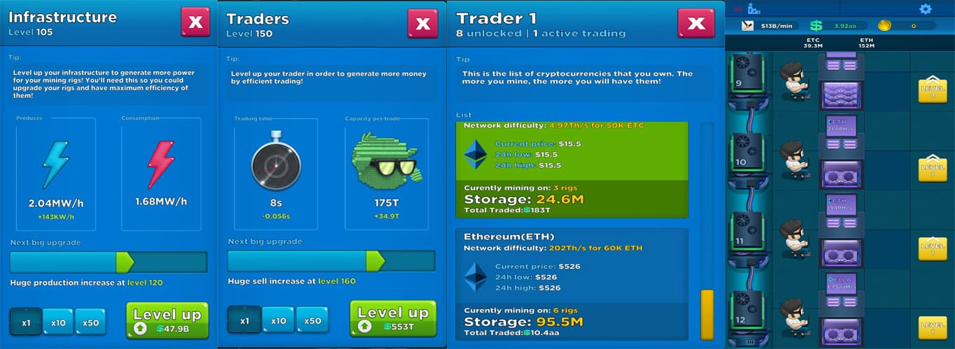 Crypto Idle Miner Preview Screenshots from Beta