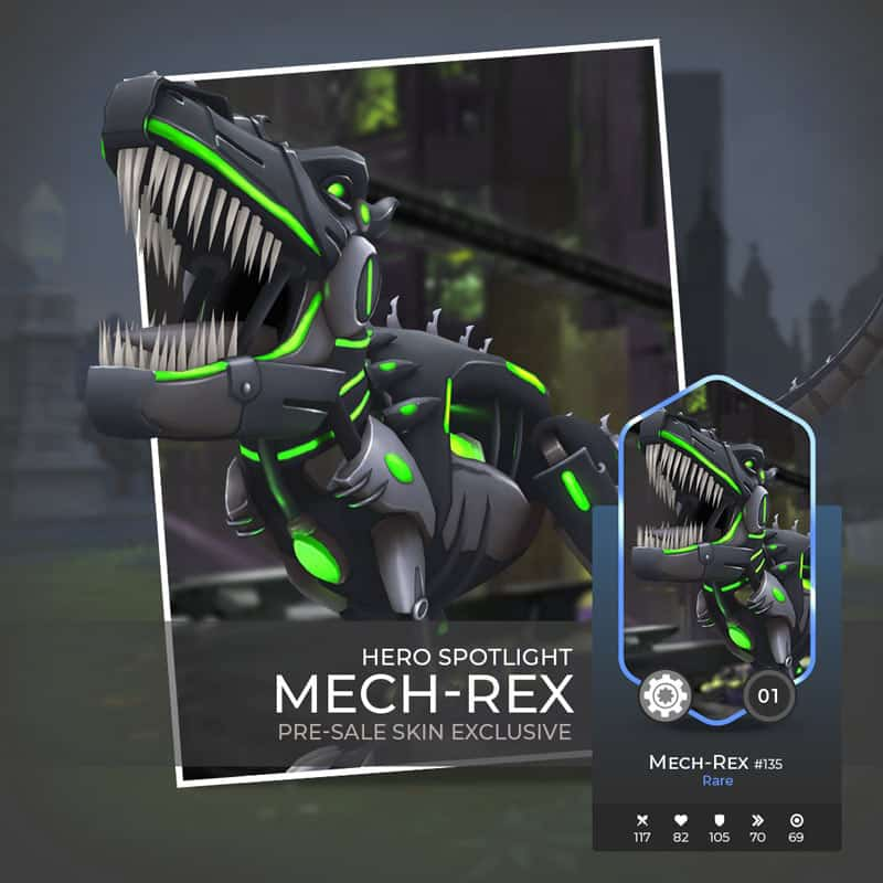 Mech Rex is a killing machine offered in the presale of War Of Crypto. Stay away from him or buy him.
