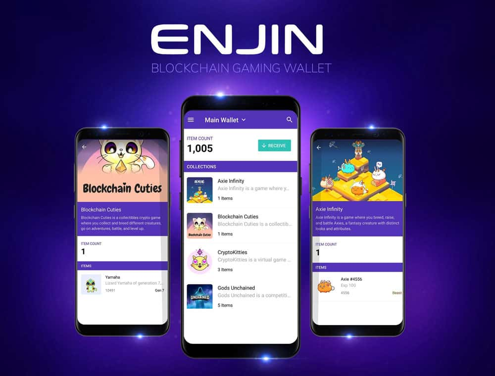 Enjin Wallet featuring the supported games