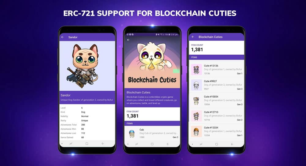 Blockchain Cuties - The Cryptocollectible game is now available in Enjin Wallet