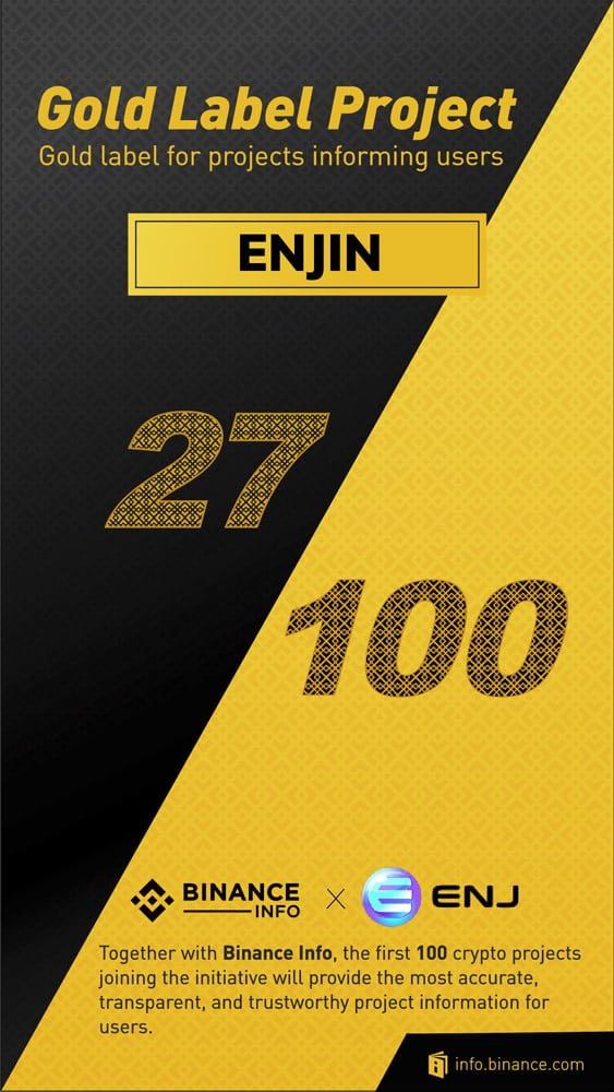 Enjin Binance gold info project