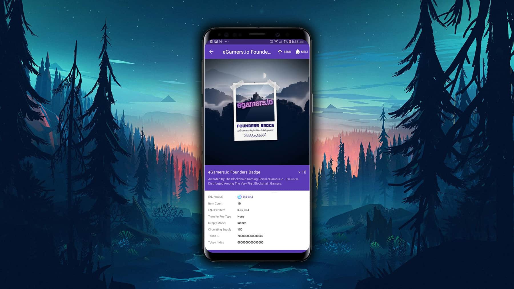The Founders Badge within the Enjin's Smart Wallet.