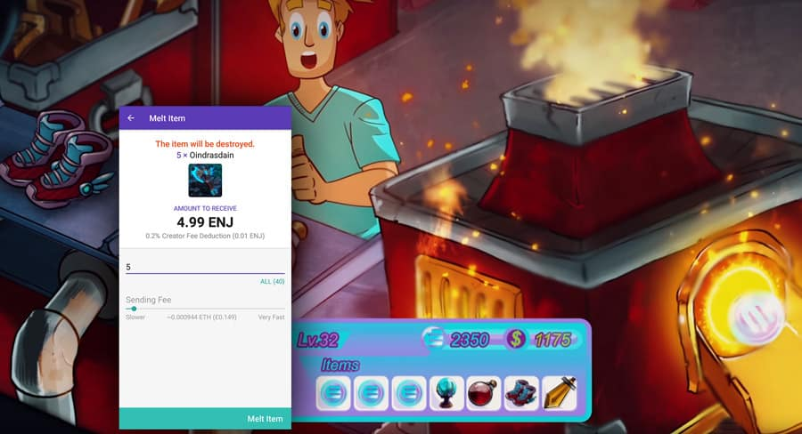 "Melting Items in Enjin's Wallet. The procedure ""returns"" the base value of any item."