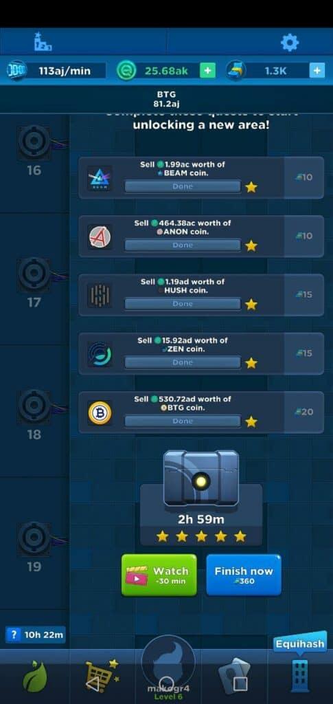 crypto idle miner unlocks