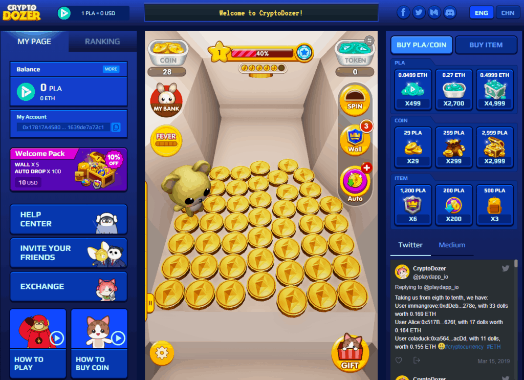 cryptodozer ethereum blockchain game crypto gaming earn ETH
