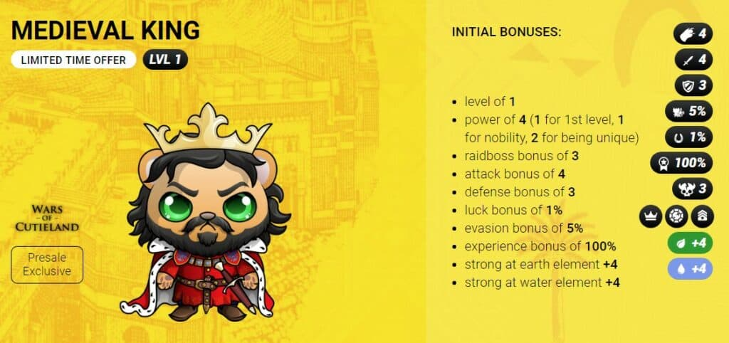 medieval king wars of cutieland egamers blockchain gaming