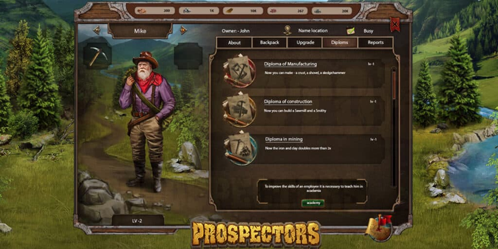 prospectors egamers eos blockchain game economical
