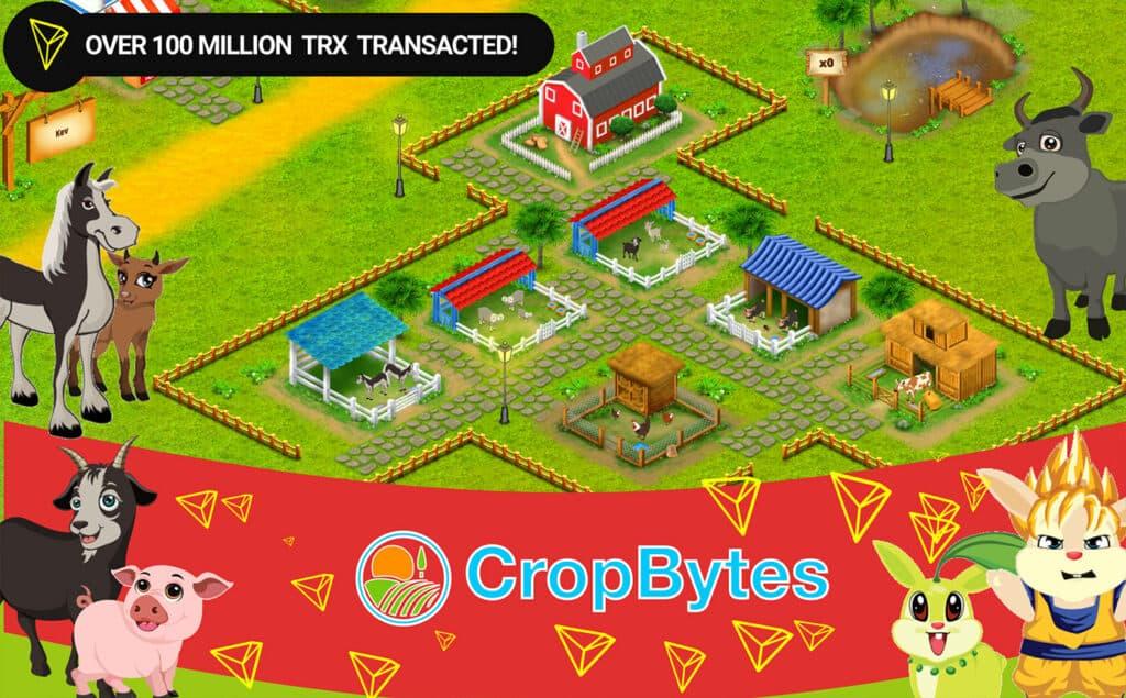 100million trx transactions cropbytes crypto game