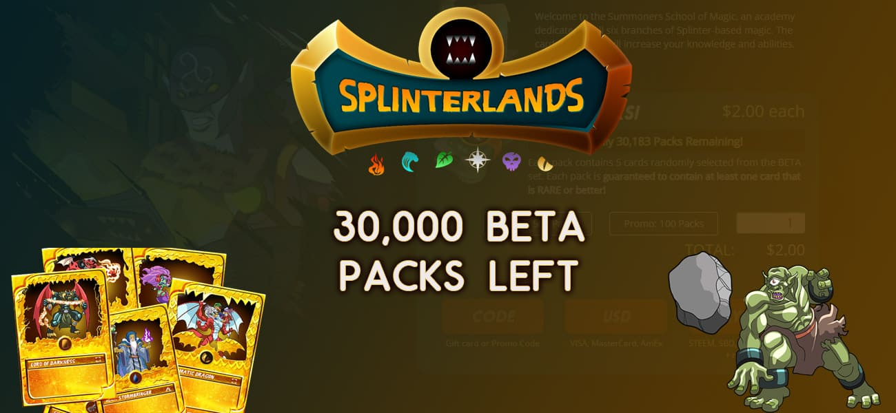 30,000 beta packs left splinterlands