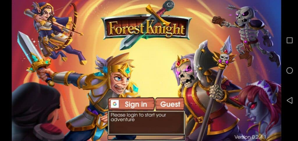 forest knight gameplay sign in