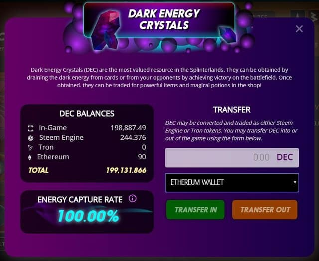 Dark energy crystals splinterlands ethereum update