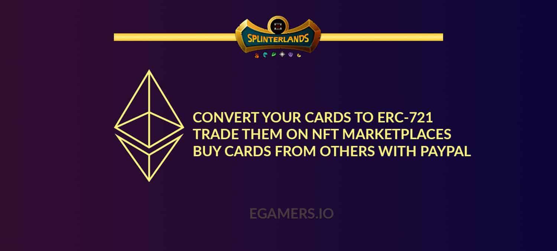 Splinterlands cards erc721 ethereum blockchain dec