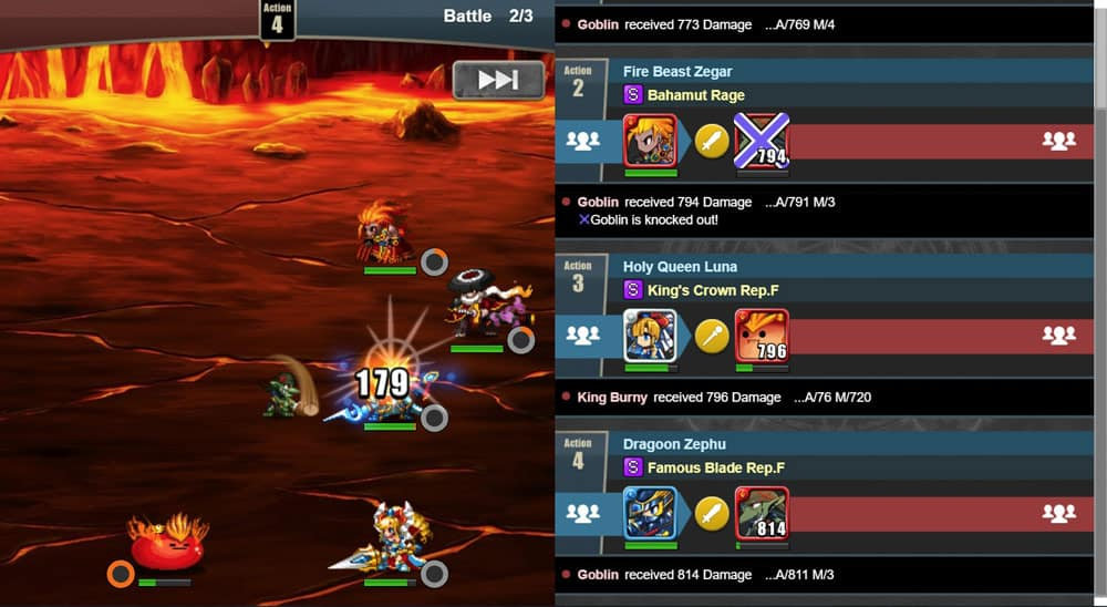 Gameplay of Brave Frontier Heroes