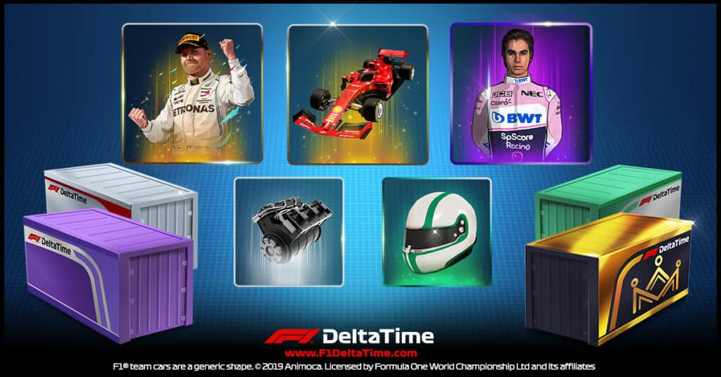 Each crate contains 5 NFTs including race cars drivers car components driver gear or tyres