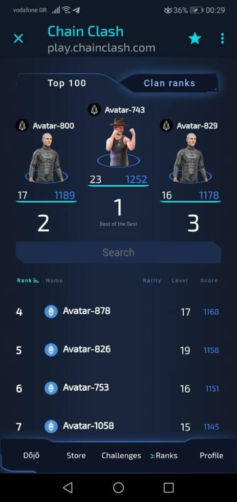 Avatar829 chain clash leaderboard