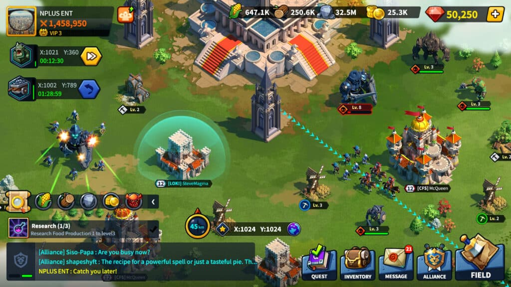 League of kingdoms gameplay image.
