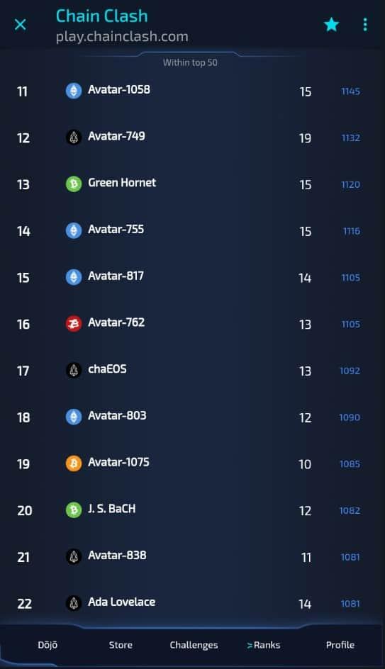 top 100 chain clash