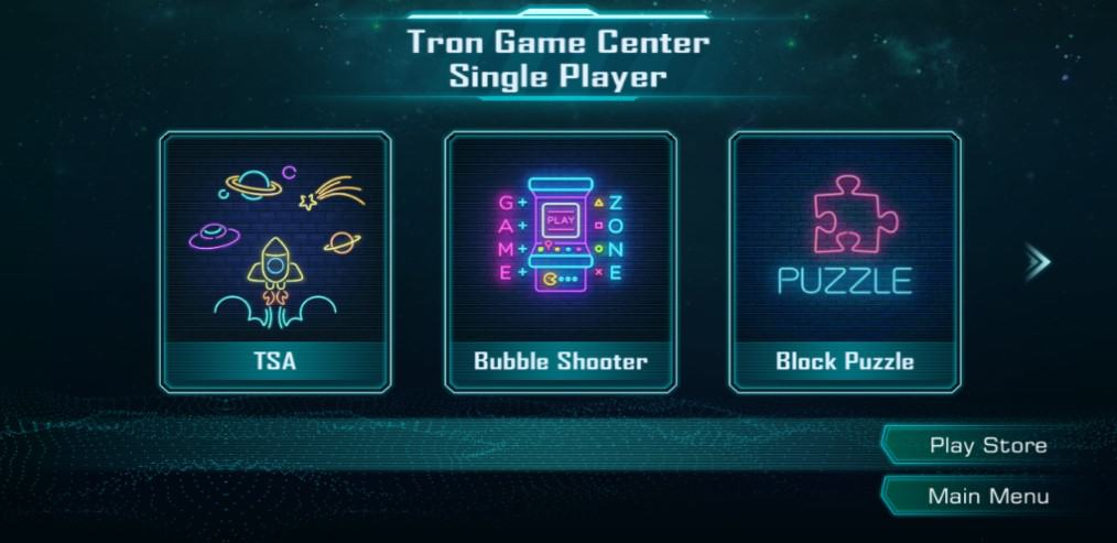 Tron Game Center Single player games