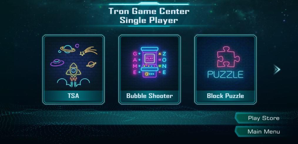 Tron Game Center Single player games