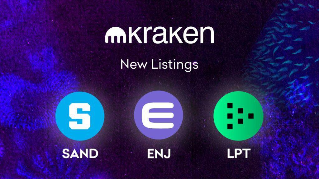 Kraken to List The Gaming Tokens $ENJ & $SAND