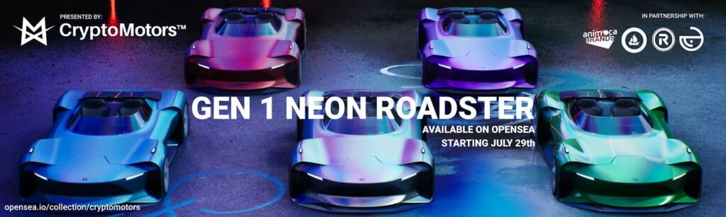 CryptoMotors gen1 neon roadster sale